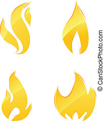 Glossy icons of fire - Glossy icons of orange flames and...