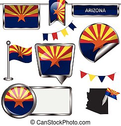 Glossy icons with flag of Arizona - Vector glossy icons of...