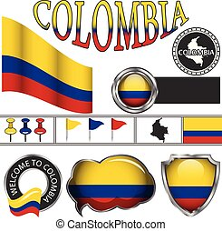 Glossy icons with flag of Colombia
