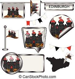Glossy icons with flag of Edinburgh