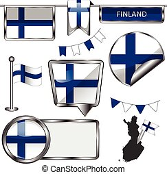 Glossy icons with flag of Finland
