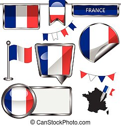 Glossy icons with flag of France