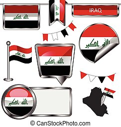 Glossy icons with flag of Iraq