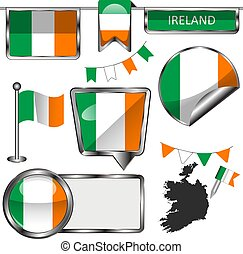 Glossy icons with flag of Ireland