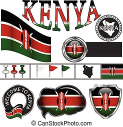 Glossy icons with flag of Kenya