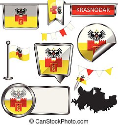 Glossy icons with flag of Krasnodar - Vector glossy icons of...