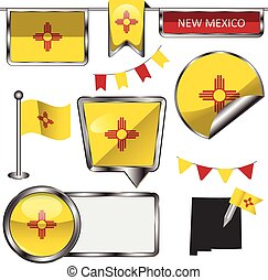 Vector glossy icons of flag of New Mexico on white