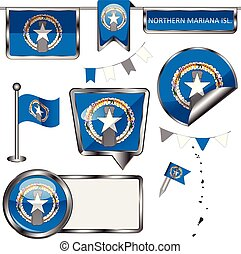 Glossy icons with flag of Northern Mariana Islands