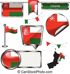 Glossy icons with flag of Oman