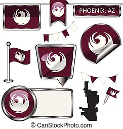 Glossy icons with flag of Phoenix - Vector glossy icons of...