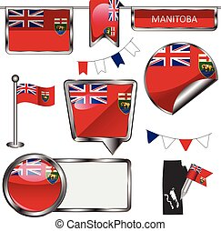 Glossy icons with flag of province Manitoba - Vector glossy...