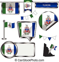 Glossy icons with flag of province Yukon