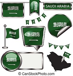Glossy icons with flag of Saudi Arabia