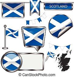 Glossy icons with flag of Scotland, United Kingdom