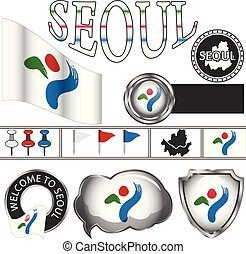 Glossy icons with flag of Seoul