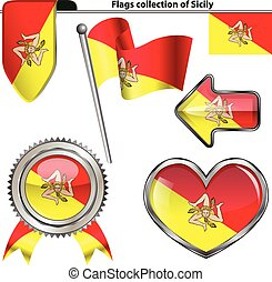Glossy icons with flag of Sicily