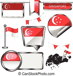 Glossy icons with flag of Singapore