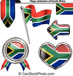 Glossy icons with flag of South Africa