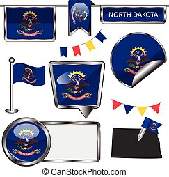 Glossy icons with flag of state North Dakota - Vector glossy...