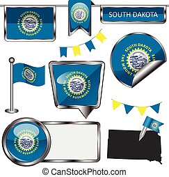 Glossy icons with flag of state South Dakota - Vector glossy...