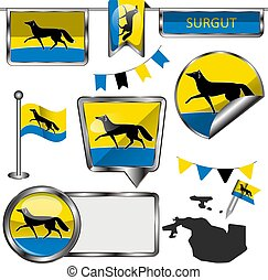 Glossy icons with flag of Surgut