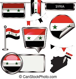 Glossy icons with flag of Syria