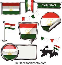 Glossy icons with flag of Tajikistan