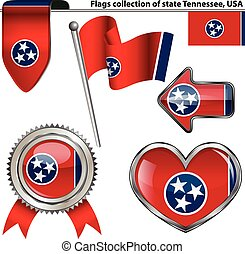 Vector glossy icons of flag of state Tennessee, United States