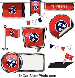 Vector glossy icons of flag of Tennessee on white