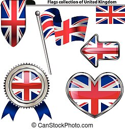 Glossy icons with flag of United Kingdom
