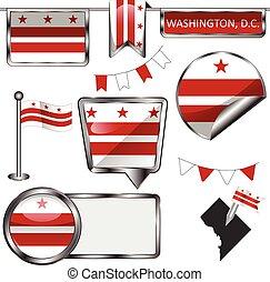Glossy icons with flag of Washington DC
