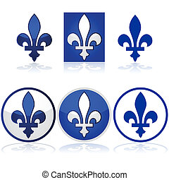 Glossy illustration showing the Quebec fleur-de-lys in blue and white