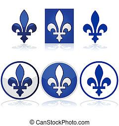 Quebec fleur-de-lys - Glossy illustration showing the Quebec...