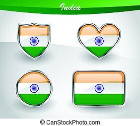 Glossy India flag icon set