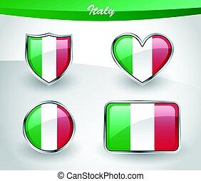 Glossy Italy flag icon set