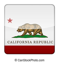 Glossy logo icon app flag of the US state of California LA