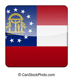 Glossy logo icon app flag of the US state of Georgia