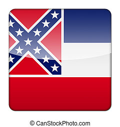 Glossy logo icon app flag of the US state of Mississippi