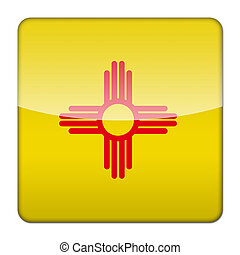 Glossy logo icon app flag of the US state of New Mexico