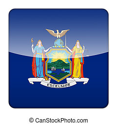 Glossy logo icon app flag of the US state of New York