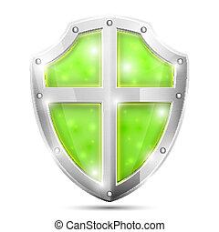 Glossy Magic Green Shield Icon.
