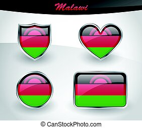 Glossy Malawi flag icon set with shield, heart, circle and...