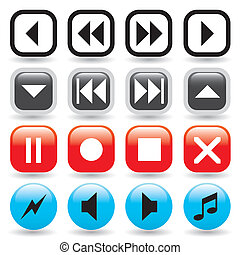 Glossy Media Player Buttons - A collection of glossy media...