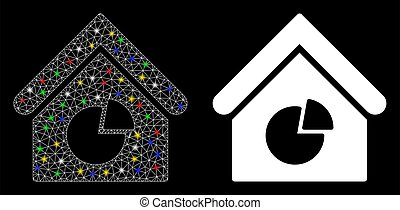 Glossy Mesh 2D Realty Pie Chart Icon with Flash Spots