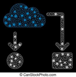 Glossy Mesh Network Cloud Flow Chart with Flare Spots