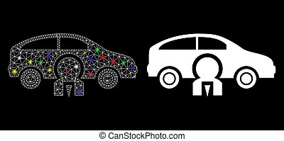 Glossy Mesh Wire Frame Car Owner Icon with Light Spots