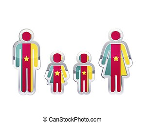 Glossy metal badge icon in man, woman and childrens shapes with Cameroon flag, infographic element isolated on white
