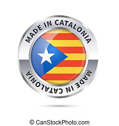 Glossy metal badge icon, made in Catalonia with flag - Metal...