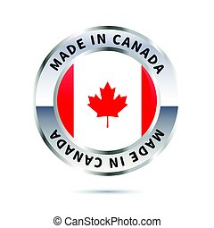 Glossy metal badge, made in Canada with flag