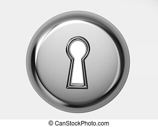 Glossy metal keyhole with clipping path
